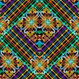 Färgrik randig blom- sömlös modell Dekorativ ethn för vektor vektor illustrationer