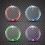 Färgrik realistisk bubbla med regnbågereflexion stock illustrationer
