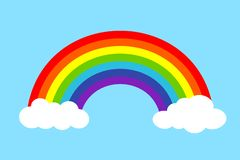 Färgrik regnbåge med moln, vektorillustration Royaltyfria Bilder