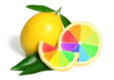 Färgrik regnbågecitronfrukt arkivbild