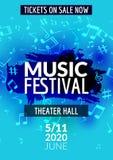Färgrik reklamblad för mall för konsert för vektormusikfestival Musikalisk reklambladdesignaffisch med anmärkningar royaltyfri illustrationer