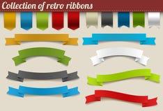 färgrik retro bandvektor för samling royaltyfri illustrationer