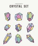 Färgrik retro crystal illustrationuppsättning av symboler Arkivbilder