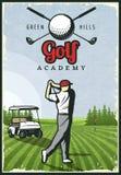 Färgrik Retro golfaffisch stock illustrationer