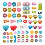 Färgrik Retro pappersuppsättning av rabatten och nya vektoretiketter, etiketter, pilar Royaltyfria Bilder