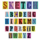 Färgrik Retro stil skissar alfabetillustrationen Royaltyfria Bilder