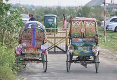 Färgrik Rickshaw, Dhaka, Bangladesh Royaltyfri Foto