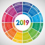 Färgrik rund design för kalender 2019 royaltyfri illustrationer