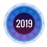 Färgrik rund design för kalender 2019, tryckmall, din logo och text Veckan startar söndag Denna bild tillhör serien som inkludera vektor illustrationer
