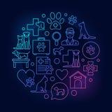 Färgrik rund illustration för veterinär- sjukhus royaltyfri illustrationer