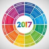 Färgrik rund kalender 2017 royaltyfri illustrationer