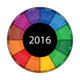 Färgrik rund kalender för 2016 år Royaltyfria Foton