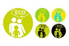 Färgrik rund klistermärke för Eco familj för bio produkter Organisk etikettupps?ttning stock illustrationer