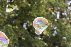 Färgrik såpbubbla i luften arkivbild