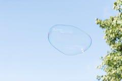 Färgrik såpbubbla i luften arkivfoton