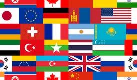 Färgrik sömlös bakgrund av nationsflaggor av olika länder stock illustrationer