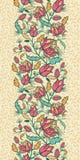 Färgrik sömlös blomma- och sidalodlinje Arkivfoton