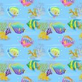 Färgrik sömlös modell för havsfisk stock illustrationer