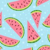 Färgrik sömlös modell för vattenmelonvektor på blått Royaltyfria Bilder