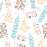 Färgrik sömlös modell för vektorLondon gator med stora Ben Tower, dubbla Decker Bus, hus och stjärnor Royaltyfri Foto