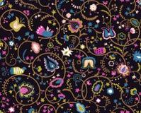 Färgrik sömlös modell med dekorativa fåglar och blommor royaltyfri illustrationer