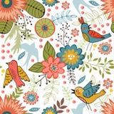Färgrik sömlös modell med fåglar och att blomma Royaltyfri Bild