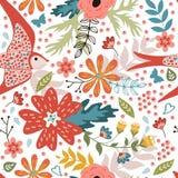 Färgrik sömlös modell med fåglar och att blomma Arkivbilder