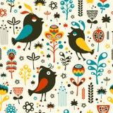 Färgrik sömlös modell med fåglar och blommor Arkivbilder