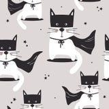 Färgrik sömlös modell med gulliga katter, stjärnor vektor illustrationer