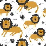 Färgrik sömlös modell med gulliga lejon djurbakgrund vektor illustrationer