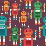 Färgrik sömlös modell med intelligenta robotar Royaltyfri Bild