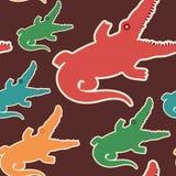 Färgrik sömlös modell med krokodiler Arkivbilder