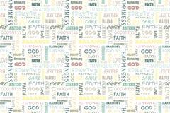 Färgrik sömlös modell med ord: förälskelse fred, jämvikt, lycka, tro, gud, tro, omsorg, godhet, lugn, harmoni V stock illustrationer
