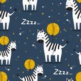 Färgrik sömlös modell med sebror, måne, stjärnor stock illustrationer