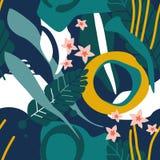 Färgrik sömlös modell med sidor, blommor royaltyfri illustrationer
