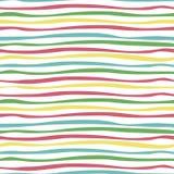 Färgrik sömlös modell: Röda, blåa, gröna och gula remsor royaltyfri illustrationer