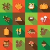 Färgrik sömlös PIXELmodell med Autumn Elements Arkivbild