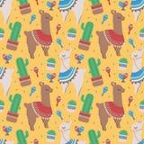 Färgrik sömlös tecknad filmmodell för barn med gulliga peruanska lamor eller alpacas med ponchoar och kaktuns på gul BG vektor illustrationer