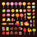 Färgrik sötsak- och godisuppsättning vektor illustrationer