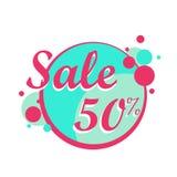 Färgrik Sale symbol i en cirkelaffisch, baner Stor försäljning, rensning 50 av också vektor för coreldrawillustration stock illustrationer