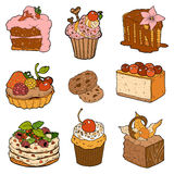 Färgrik samling av söta bakelser Kakor, muffin och chees vektor illustrationer