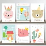 Färgrik samling för baner, reklamblad, plakat med björnen, kanin Royaltyfri Foto