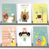 Färgrik samling för baner, reklamblad, plakat med björnen, kanin Arkivbilder