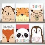 Färgrik samling för baner, reklamblad, plakat med räven, panda Royaltyfri Fotografi