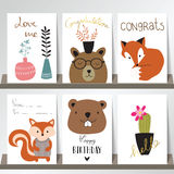 Färgrik samling för baner, reklamblad, plakat med räven, träd, ca Royaltyfri Foto