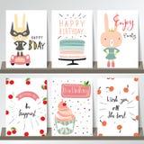 Färgrik samling för baner, reklamblad, plakat med rosa cupcak Royaltyfri Fotografi
