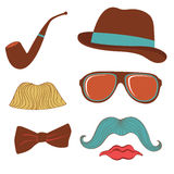 Färgrik samling för mustaschpartibeståndsdelar Royaltyfri Bild