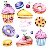 Färgrik samling med 13 vattenfärgbeståndsdelar stock illustrationer