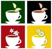 färgrik sammansättning märker fyrkantig tea stock illustrationer