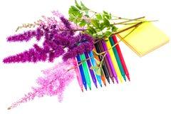 Färgrik sammansättning med blommor och färgade blyertspennor Lekmanna- nolla för lägenhet Royaltyfri Bild